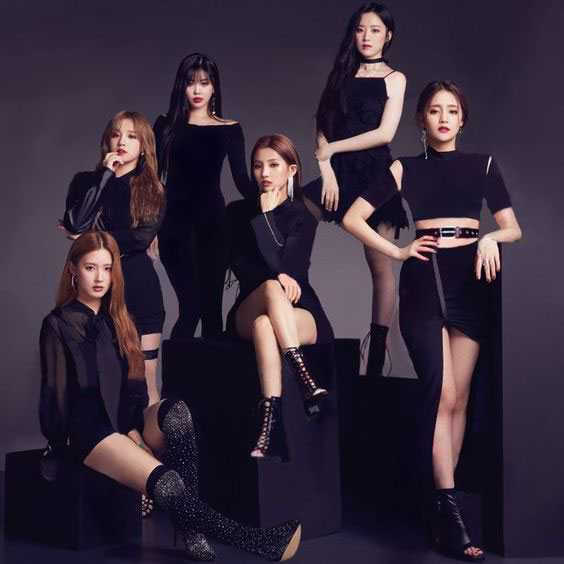 foto biodata member g idle lengkap - photoshoot wallpaper promosi single hann kostum hitam