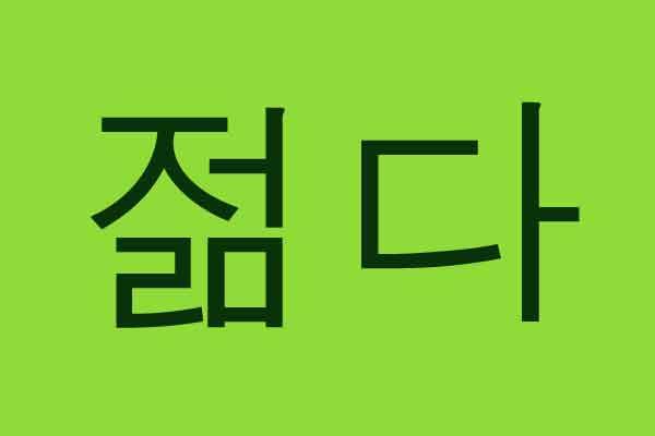 tulisan hangul bahasa korea muda 젊다 img